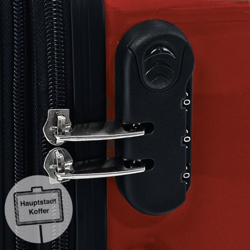 HAUPTSTADTKOFFER - Alex - 3er Koffer-Set Trolley-Set Rollkoffer Reisekoffer Erweiterbar, 4 Rollen, (S, M & L), Rot - 3