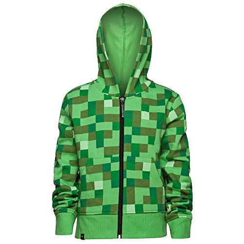 Minecraft Creeper No Face Premium Zip-Up Youth Hoodie (Youth Large, Green) - 150/158 (Creeper Hoodie)