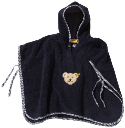 Steiff Unisex - Baby Bademantel Bade Poncho 0002927, Einfarbig, Gr. One Size (Herstellergröße: 00), Blau (Steiff Marine)