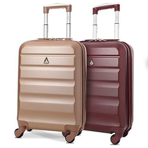 Aerolite ABS Bagage Cabine à Main Valise Rigide Léger 4 roulettes, Set de 2 (Rose Or + du Vin)