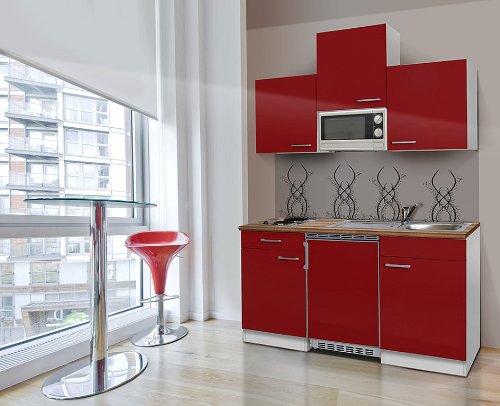 GroBartig 10. Respekta KB150WRMI Küchenzeile Küchenblock Single Mini Küche WEISS ROT  150 Cm Mit Mikrowelle