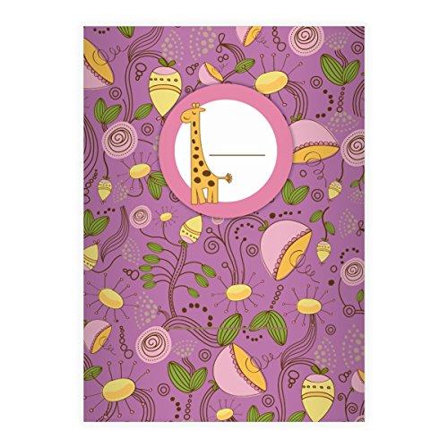 Kartenkaufrausch 4 Frische Blüten DIN A5 Schulhefte, Schreibhefte mit Kleiner Giraffe in lila Lineatur 6 (blanko Heft)