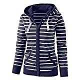 Womens Hoodies Toamen Clothes Sale Stripe Zipper Casual Slim Tops Hooded Sweatshirt Coat Jacket Jumper(Dark Blue , 16)