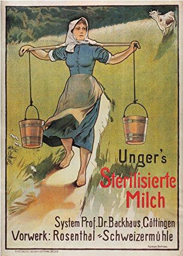 Vintage Café, thés et boissons chaudes Unger de lait stérilisé à partir de Suisse C1896250g/m² Brillant Art carte Format A3