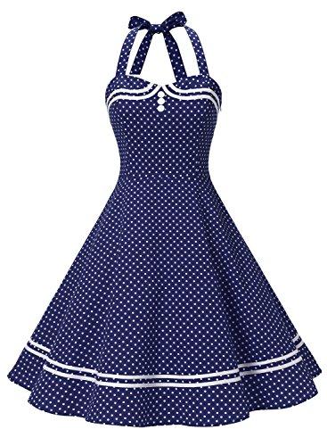 Timormode Rockabilly Kleider Neckholder 50s Vintage Kleid Retro Knielang Kleider Damenkleider Festlich Cocktailkleider 10387 Marineblau Punkte L Neckholder-kleid