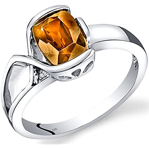 Revoni-Collana in oro bianco 14 kt con quarzo citrino e diamanti ct, lunetta-Anello in argento - Lunetta Diamante Solitario Anello