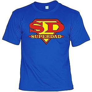 T-Shirt als Geschenk für den Vater / Opa - SD Superdad - Inkl. Urkunde 'Bester Vater der Welt', Größe:M