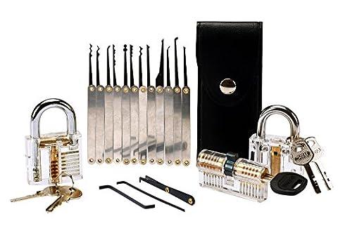 Aonokoy 15 Piece Lock Pick Set with 3 Transparent Practice / Training Locks, Lockpicking Key Extractor Tool Pick Padlock Picking Tools Kit for Locksmith Training Beginners