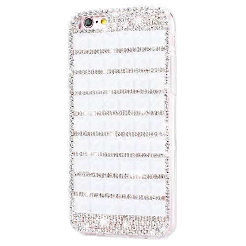 SMART LEGEND iPhone 6 Plus/iPhone 6S Plus Hartschale Hart Hülle Glitzer Schutz Bling Diamond Hardcase Rückschale Schutzhülle für iPhone 6 Plus/iPhone 6S Plus Bumper Klar Dünne Ultra Slim Rückseite Cle Reines Weiß