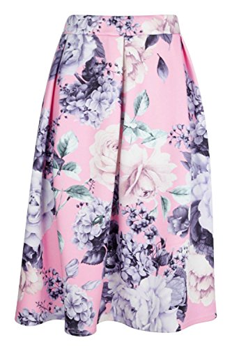 Damen Rosa Avah Midirock Mit Kellerfalten Und Blumen-print Rosa