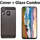 POPIO Tempered Glass & Back Cover Case Combo FOR Samsung Galaxy M30 (Transparent Glass & Cover Combo)