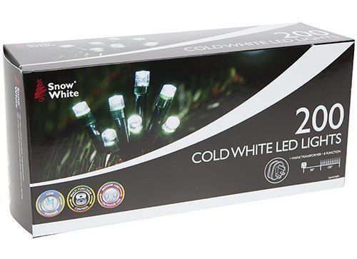 Snow White 200 Cold White LED String Fairy Lights for Xmas Tree Party Wedding Events Garden(8 Lighting Functions, Memory function) - Athentic Quality Indoor amp; Outdoor Use