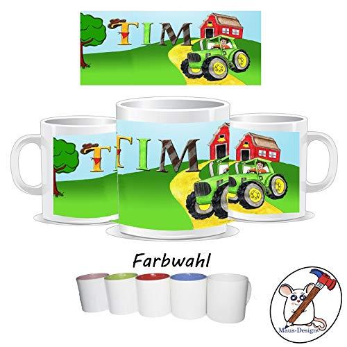 Kinder-Tasse mit Traktor Motiv und Name/Tasse für Kinder mit Name/Marienkäfer/Farbwahl Tasse + Schriftwahl für Name + Keramik oder Kunststofftasse