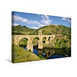 Premium Textil-Leinwand 45 cm x 30 cm quer, Brücke von Alcántara | Wandbild, Bild auf Keilrahmen, Fertigbild auf echter Leinwand, Leinwanddruck: Extremadura (CALVENDO Orte) - LianeM