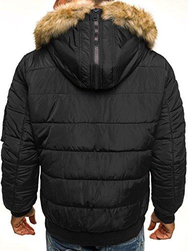 OZONEE Herren Winterjacke Wärmejacke Parka Sweatjacke Steppjacke Jacke Sportjacke Kapuzenjacke J.STYLE 3098 Schwarz