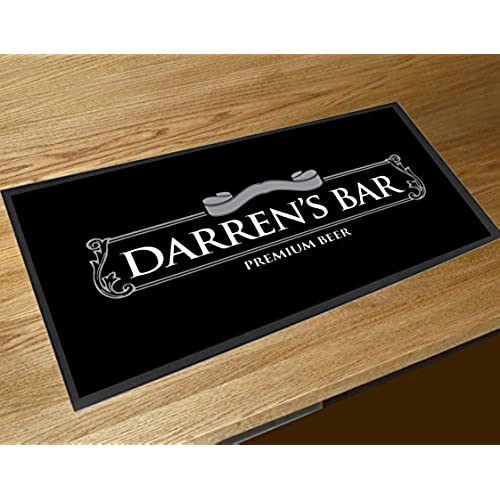 Personalised Black Beer Label Name Bar Runner Counter Mat