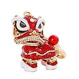 VelvxKl Squisito cinese Dancing Lion portachiavi strass Car decor borse impiccagione Ciondolo chiave ring