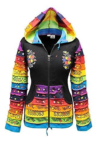 Women Rainbow Sleeved Flower Patch Hoodie (3XL, Black)