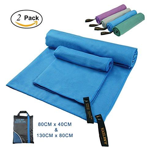 Mikrofaser Sport Handtuch Reise Handtuch 2 Packung– federleicht, ultra saugstark und schnelltrocknend – für Turnhalle, Schwimmen, Wandern, Strand oder Yoga (Blau)