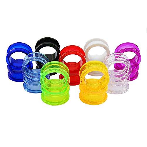 ZeSen Jewelry 9 Paare 2 UV Acrylic Screw Doble Ausgestelltes Ohrstöpsel Tunnels Expander Ohrmessgeräte Piercing (2) Gauge = 14g (1,6 mm) klar