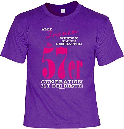 Cooles T-Shirt zum 60. Geburtstag Frauen 1957er Beste Generation Geschenk 60. Geburtstag 60 Jahre Geburtstagsgeschenk lustiges Tshirt zum Geburtstag Lila
