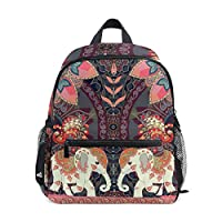 Linomo Ethnic Elephant Flower Kids Backpack Daypack Rucksack Bookbag Preschool Toddler Backpacks Kindergarten Shoulder Bag for Boys Girls Child