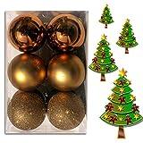 (WKG05) Weihnachtskugeln Christbaumkugeln Baumschmuck Weihnachtsbaumschmuck Deko 12er (Hell Kupfer)