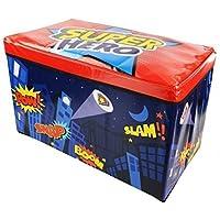 Zizzi - Niños infantil almacenaje grande juguete caja chicos chicas libros pecho ropa asiento taburete shopmonk (super héroe)
