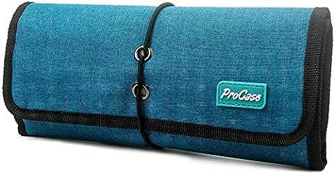 ProCase Roll-up Electronics Organizer, Universal Zubehör Travel Case, Kabel Management Tragetasche, Healthcare Kit Travel Kit und Kosmetik Tasche(Teal)