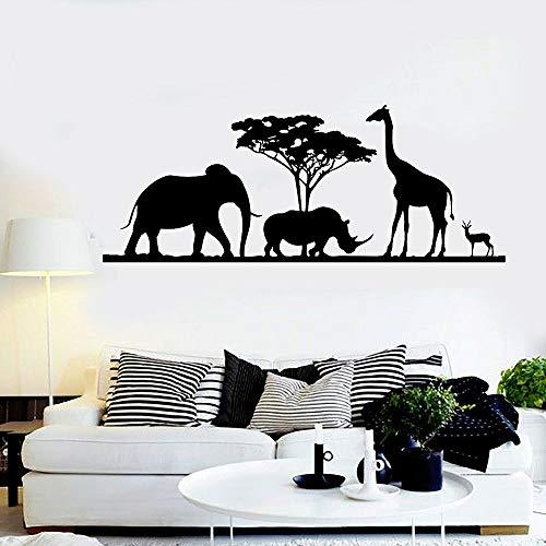 woyaofal Giraffe Elefant Vinyl Wandtattoo Afrikanische Tiere Aufkleber Natur Wandhauptdekoration Für Wohnzimmer Schlafzimmer Abnehmbare 76X30 cm