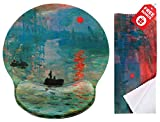 Tappetino per mouse dal design ergonomico con supporto poggiapolsi; ampia superficie per muovere il mouse;  panno di pulizia in microfibra coordinato per occhiali e schermi; ideale per giocare e lavorare., Claude Monet Impression Sunrise, Round Large