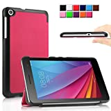 Infiland Huawei MediaPad T1-701W Funda Case-Ultra Delgada Tri-Fold Smart Case Cover PU Cuero Smart Cascara con Soporte para Huawei MediaPad T1-701W 8GB (7.0 pulgadas) Tablet-PC(Magenta)