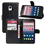 HualuBro Alcatel OneTouch Pop Star Hülle, Premium PU Leder Leather Wallet HandyHülle Tasche Schutzhülle Flip Case Cover für Alcatel One Touch Pop Star 3G 5022D (Schwarz)