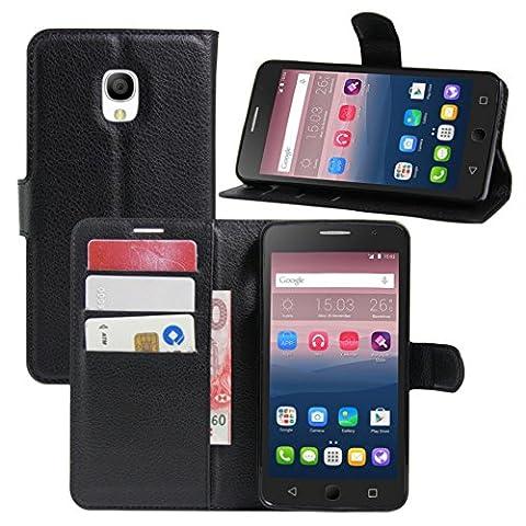 HL Brothers Étui de protection à rabat en cuir PU avec emplacements pour cartes pour Alcatel One Touch POP 4, 5pouces, Cuir, noir, For Alcatel OneTouch Pop Star