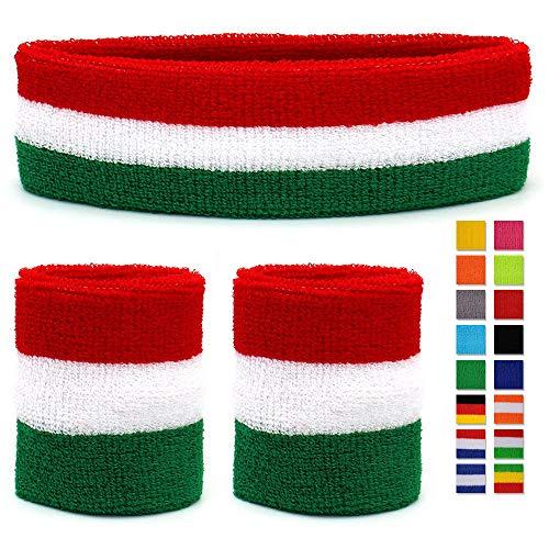 HikBill Schweißbänder Set inkl Sport Stirnband und Handgelenk Schweißbänder für Laufen Fahrrad Joggen Tennis Fußball (Green/White/Red)