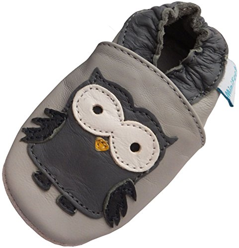 MiniFeet Premium Weich Leder babyschuhe 0-6, 6-12, 12-18, 18-24 Monate und 2-3, 3-4 Jahre Grau Eule