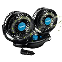 Anpress 12V Dual Head Car Fan 5 inch 360 Rotating 2 Adjustable Speeds Vehicle Fan Electric Auto Car Cooling Air Fan with Cigarette Lighter Plug