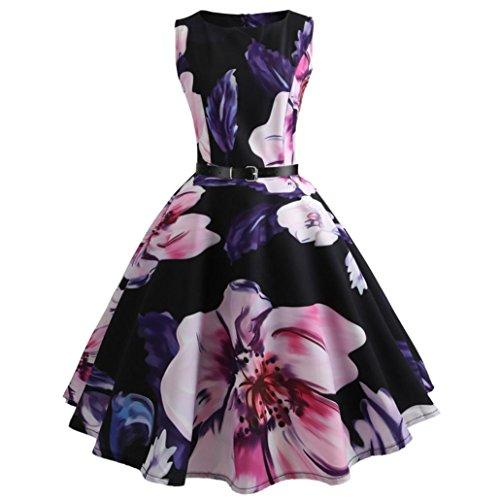 ITISME Damen Ärmelloses Beiläufiges Strandkleid Sommerkleid High Waist Lang Kleid Partykleid (S,...