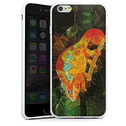 Apple iPhone X Silikon Hülle Case Schutzhülle Chamäleon Echse Muster Silikon Case weiß