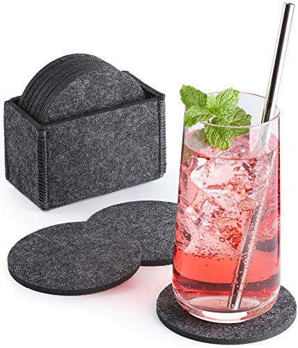 Sidorenko Filz Untersetzer rund für Gläser - 10er Set Ink. Box - Design Glasuntersetzer in dunkelgrau für Getränke, Tassen, Bar, Glas - Premium Tischuntersetzer Filzuntersetzer