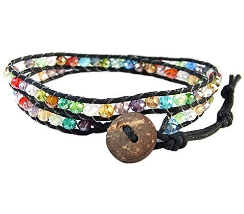 LUN NA Asiatique Bracelet Wrap Fait Main 100% Cristal Couleur Mélanger Ficelle de Coton