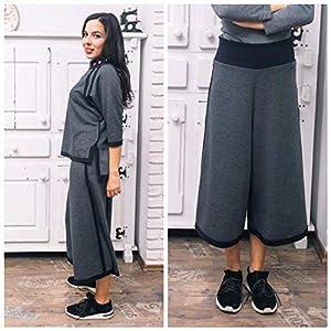 Damen Hosenrock in Grau, Breiter Trendrock - Hose auf schwarzem Seitenstreifen, sportlich-eleganter Stil
