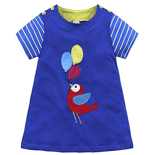 Baby Mädchen Prinzessin Kleid Mädchen Jerseykleid mit Streifen Crewneck Kleid (18-24 Monate, Blau - Vogel)