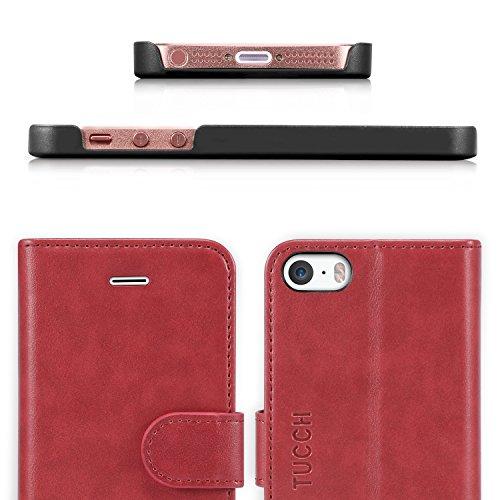 iPhone SE Hülle iPhone 5 Hülle iPhone 5s Hülle, TUCCH Handyhülle iPhone SE / 5s / 5 Schutzhülle [Lebenslange Garantie] mit [Aufstellfunktion] [Kartenfach] [Magnetverschluss], Schwarz Rot