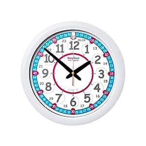 EasyRead Time Teacher Kinderwanduhr, zum Lernen der 12- & 24- Stunden-Zeit. Mit geräuschloser Bewegung. So lernt Ihr Kind, die Uhrzeit in 2 einfachen Schritten abzulesen. Für Kinder ab 5 Jahren.