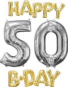 Amscan International 3606601 Happy Birthday 5-0 - Globo, Color Dorado y Plateado
