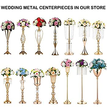 Nuptio Set of 10 Versatile Silver Flower Arrangement Stand & Pillar Candle Holder Set for Wedding Party Dinner Centerpiece Event Restaurant Hotel Decoration