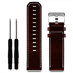 For Garmin Fenix 3, Xinantime Leather Strap Replacement Watch Band With Tools