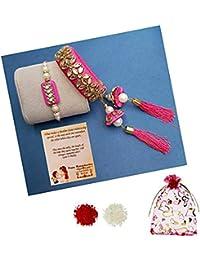 DECORATIVE BUCKETS Combo of Bhaiya Bhabhi Lumba Rakhi Set for Brother and Bhabhi with Potli Bag and Handcrafted Kundan Bracelet Hathfool