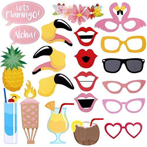 LUOEM Luau Hawaii Photo Booth Requisiten Kit Sommer Luau Party Supplies für Urlaub Hochzeit Beach Party, Pack von 21